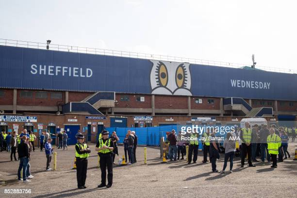Police stand outside Hillsborough home stadium of Sheffield Wednesday prior to the Sky Bet Championship match between Sheffield Wednesday and...