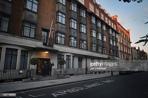 Police stand outside of King Edward VII Hospital where Prince Philip Duke of Edinburgh was today admitted with a bladder infection on June 4 2012 in...