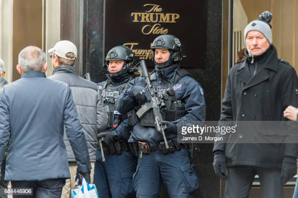 Police standing at the entrance of Trump Tower in Manhattan on January 27th 2017 in New York, United States Of America.