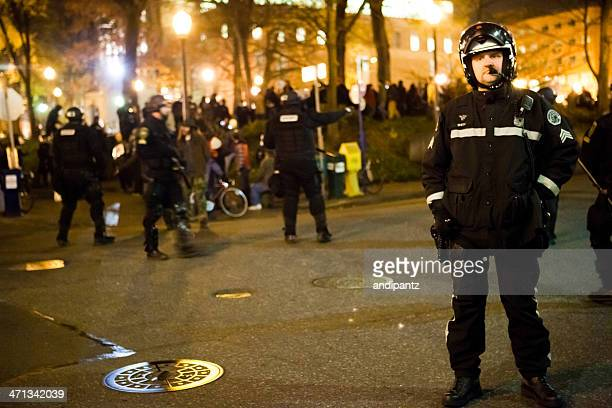 Police standing guard at Occupy Portland