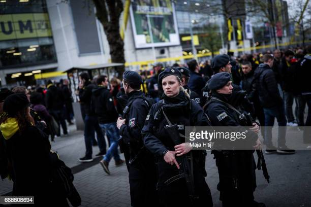 Police stands near the stadium prior the UEFA Champions League Quarter Final first leg match between Borussia Dortmund and AS Monaco at Signal Iduna...