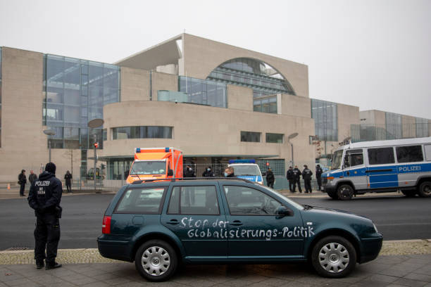 DEU: Car Crashes Into Gates Of Germany Chancellery