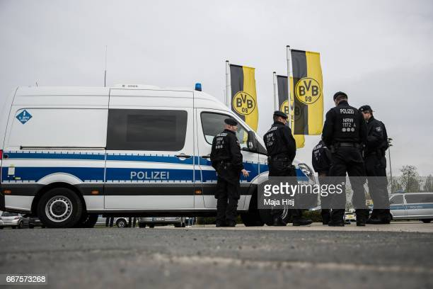 Police stands next to the Dortmund Brackel Training Ground of Borussia Dortmund prior the UEFA Champions League Quarter Final first leg match between...