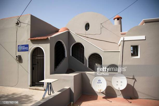 Police station at EMporio on the island of Halki, Greece on July 1, 2021.