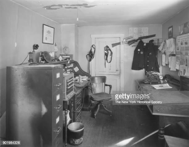 Police Station interior view of police lieutenant's desk Lindenhurst New York 1929
