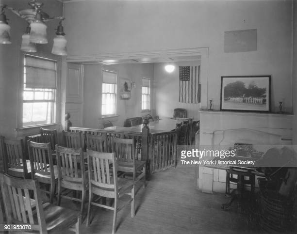 Police Station interior view toward judge's desk East Rockaway New York 1929