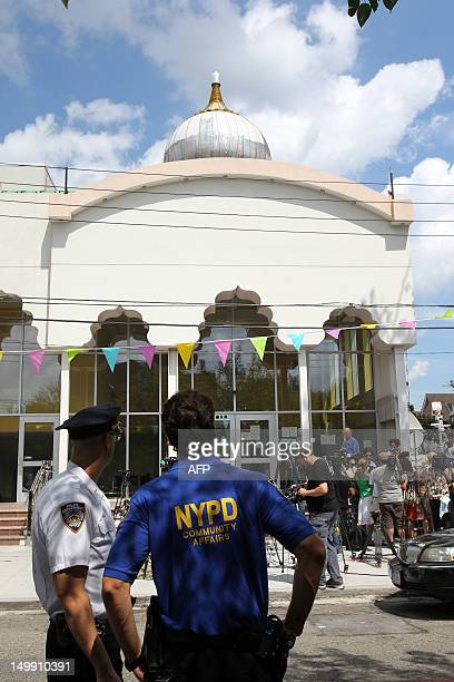 Police step up their presence at the Sikh Cultural Center in Richmond Hill Queens in New York on August 6 2012 The extra security is in response to a...