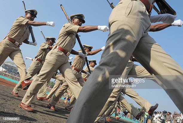 Police SubInspectors from the Gujarat Police Force participate a passing out parade at the Gujarat Police Academy in Karai near Gandhinagar around 30...