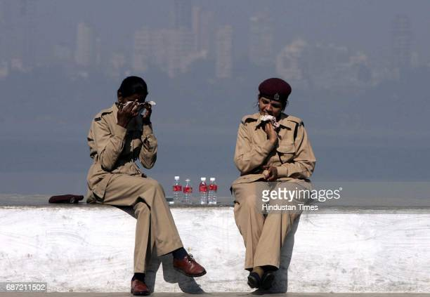 Police - Summer - Sweltering Heat - Nariman Point - Home Guard Personnel brave the heat near Marine Drive.