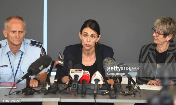 Police Sup Bruce Bird New Zealand PM Jacinda Ardern and Whakatane mayor Judy Turner hold a press conference as a volcano erupts In Bay Of Plenty on...