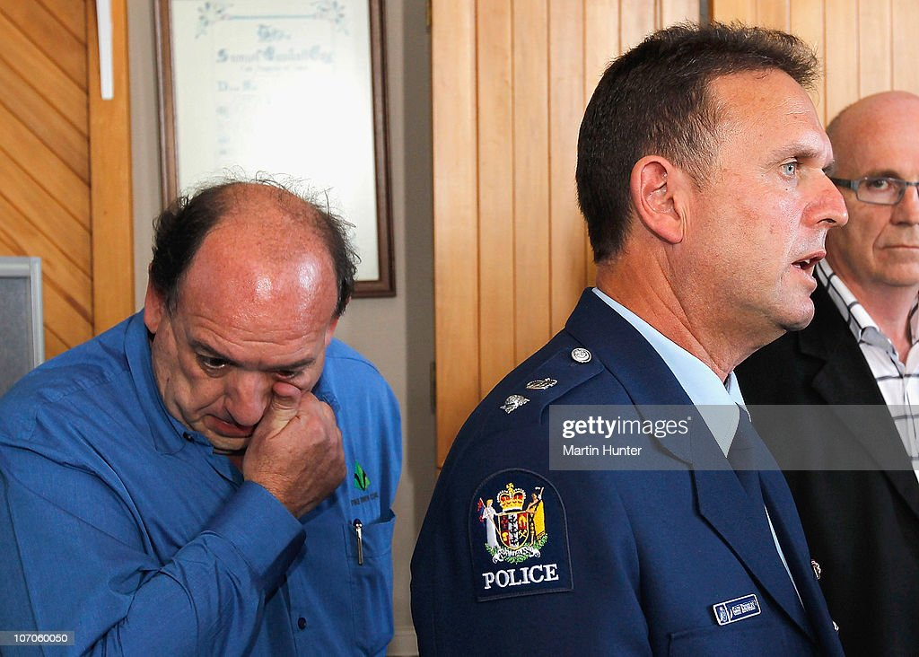 Police Superintendent Gary Knowles (R) speaks to the media while CEO of Pike River Coal Mine Peter Whittall wipes his tears during a press conference on November 22, 2010 in Greymouth, New Zealand. Police authorities confirmed two Australians, two Britons, and a South African are amongst the New Zealand mine crew reported missing following a blast at the mine 50 kilometers north of Greymouth on New Zealand's west coast on November 19. There has been no contact with the missing miners since the blast and specialist safety rescue crews are on standby until air and gas levels are cleared as safe for the rescue operation to commence.
