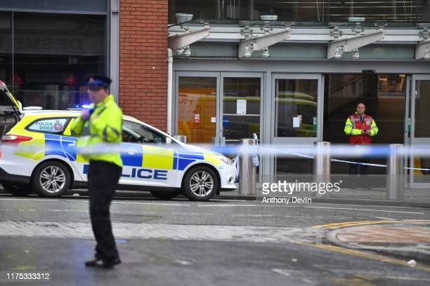 Police surround Arndale shopping centre where a man allegedly stabbed five people on October 11 2019 in Manchester England A man in his 40s was...