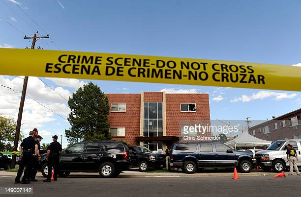 Police surround the apartment of James Holmes the suspect in the Colorado theater shooting on July 21 2012 in Aurora Colorado Numerous explosive...