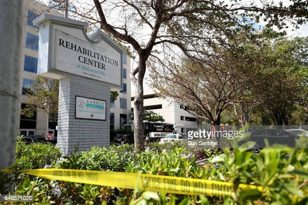 Police surround the Rehabilitation Center at Hollywood Hills which had no air conditioning after Hurricane Irma knocked out power on Sept 13 2017 in...