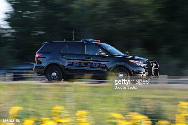 Police SUV on a rural highway