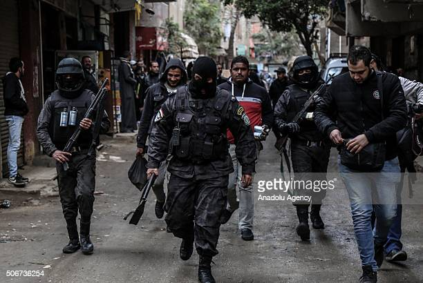 Police take security measueres to prevent the protests against military regime on the 5th anniversary of Egyptian revolution in 2011 in Haram...