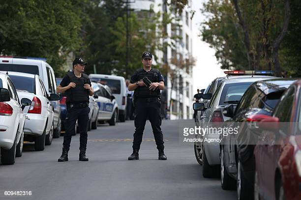 Police take security measurements near Israeli embassy building after a man with a knife who began shouting slogans while trying to enter the Israeli...