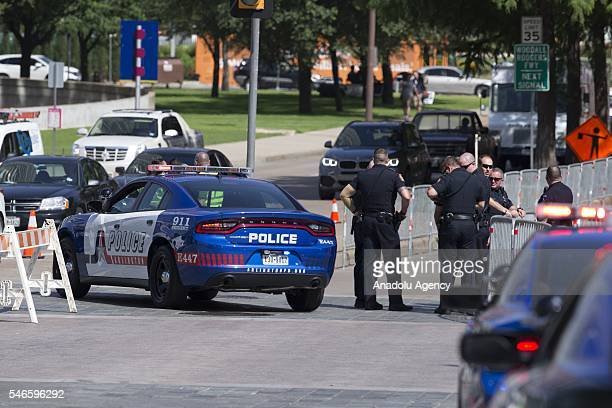 Police take security measures as a memorial service for the victims of the Dallas police shooting is held at the Morton H Meyerson Symphony Center in...