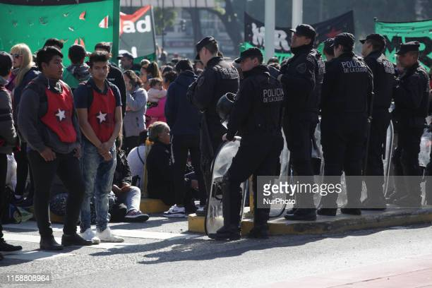 Police take security measures as demonstrators gather around the Obelisco to protest economic policies of the government in Buenos Aires Argentina on...