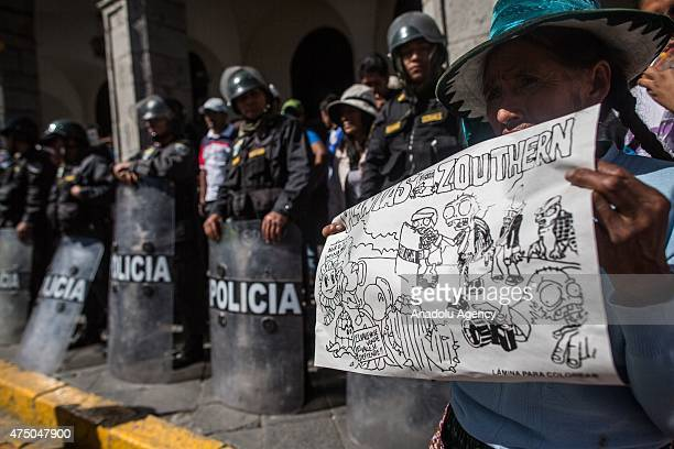 Police take security measures during the protest against a 1400 million dollars mining project by Southern Peru in the southern region of Islay 1100...