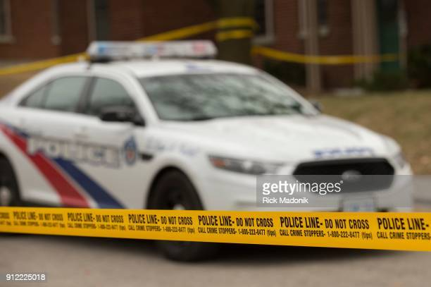 Police tape at 53 Mallory Crescent where Toronto Police Service continue their investigation of Bruce McArthur