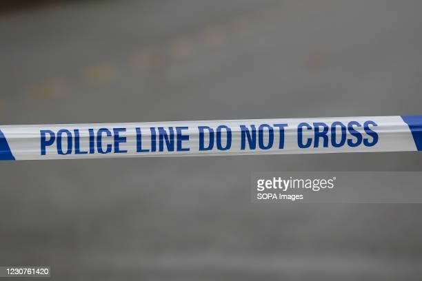 Police tape at a crime scene in London.