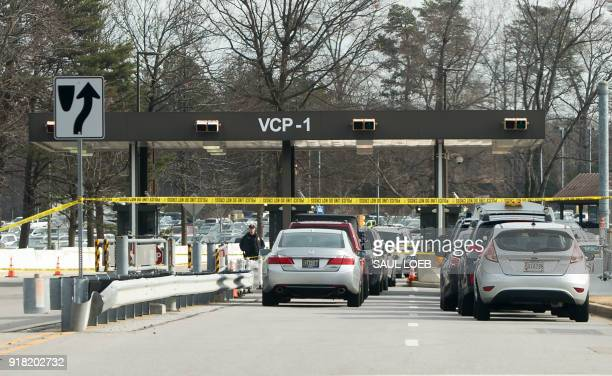 Police tape blocks a visitor's entrance to the headquarters of the National Security Agency after a shooting incident at the entrance in Fort Meade...