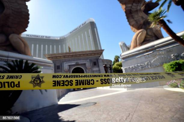 Police tape blocks an entrance at the Mandalay Bay Resort Caisno on October 4 2017 in Las Vegas Nevada Added security to some Las Vegas casinos was...