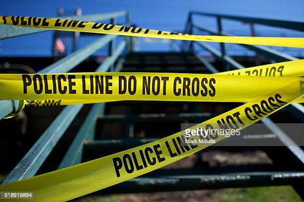 Police tape closes the entrance of the Highland Avenue train station near the crash Amtrak Palmetto train 89 on April 3 2016 in Chester Pennsylvania...