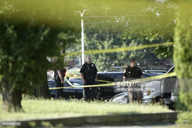 Police tape cordons off the scene of an early morning shooting in Alexandria Virginia June 14 2017 Senior Republican Congressman Steve Scalise was...