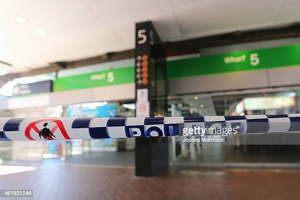 A police tape is seen in front of wharf number 5 at Circular Quay on January 22 2015 in Sydney Australia Circular Quay was evacuated after police...