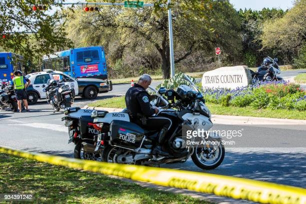 Police tape marks off the neighborhood where a package bomb went off on March 19 2018 in Austin Texas Police are investigating the bombing which...