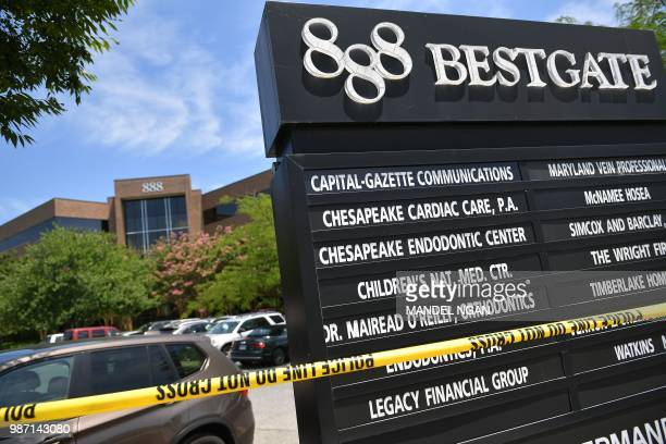 Police tape marks the entrance to the building complex where The Capital Gazette is located on June 29 in Annapolis Maryland Jarrod Ramos suspected...