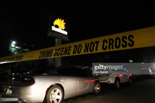 Police tape marks the scene where five people were killed at a SunTrust Bank branch on January 23 2019 in Sebring Florida The shooter entered the...
