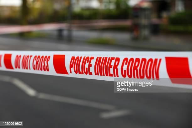 Police tape seen around the crime scene in London.