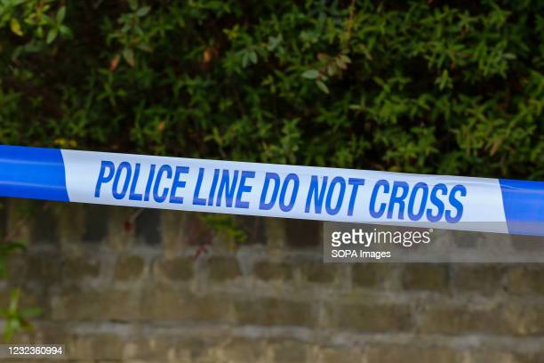 Police tape seen at a crime scene in London.