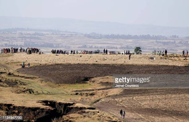Police tape surrounds the scene where Ethiopian Airlines Flight 302 crashed in a wheat field just outside the town of Bishoftu 62 kilometers...