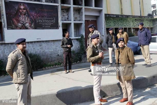Police team alert in the front of Kusum Cinema Mandi during Padmavati releasing on January 25 2018 in Shimla India According to the film's maker...