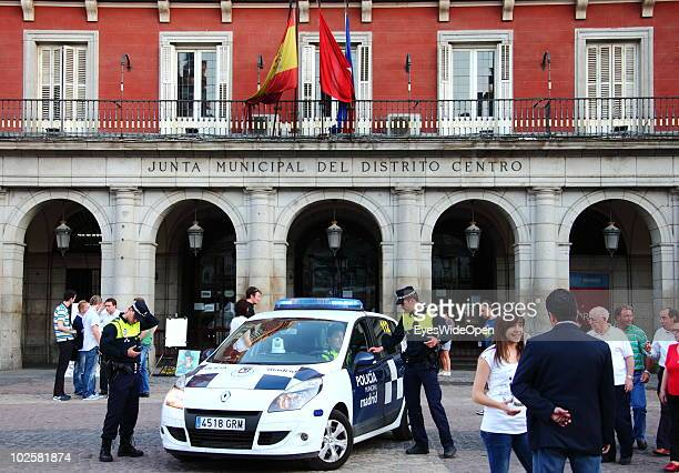Police Tourists and local people meet at the Plaza Mayor the famous central market place which dates back to the 15th century on May 21 2010 in...