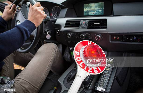 A police trowel in a civil monitoring car from the Berlin police on October 09 2013 in Berlin Germany