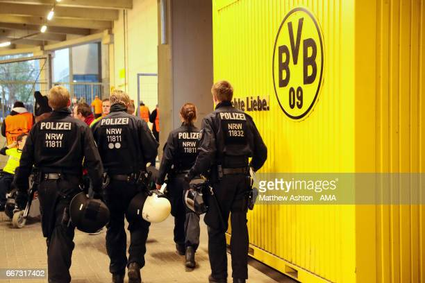 Police under the main tribune at the UEFA Champions League Quarter Final first leg match between Borussia Dortmund and AS Monaco at Signal Iduna Park...