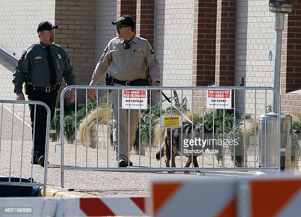 K9 police unit patrols outside of the Erath County Donald R Jones Justice Center on February 11 2015 in Stephenville Texas Security is tight for the...