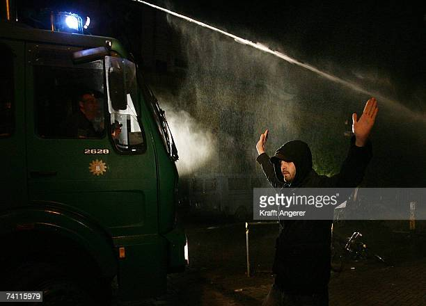 Police use a water cannon to disperse protestors during a demonstration in front of the Rote Flora a stronghold of G8 opponents on May 9 2007 in...
