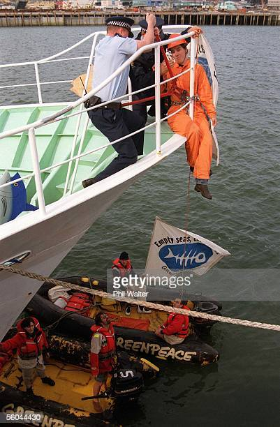 Police use boltcutters to cut free proterstor Carmen Gravett after Greenpeace chained themselves to the Japanese Bluefin Tuna fishing ship the Seiryo...