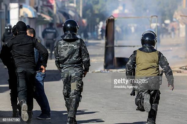 Police use tear gas to disperse the protesters demanding giving social rights to citizens and resolution of the crisis at Ras Jadir border crossing...