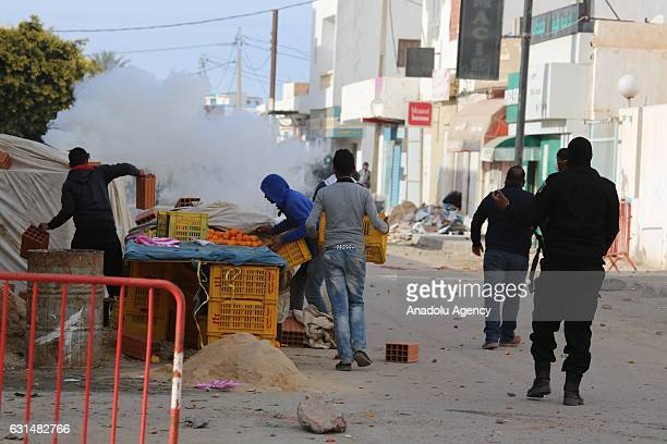 Police use tear gas to disperse the protesters demanding social rights to citizens and resolution of the crisis at Ras Jadir border crossing btween...