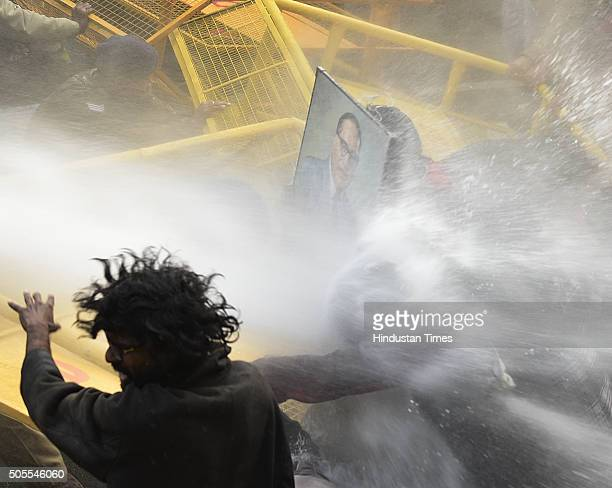 Police use water cannons on the activists of various student organisations including KYS SFI AISA SDPI and BAPSA during a protest outside HRD...