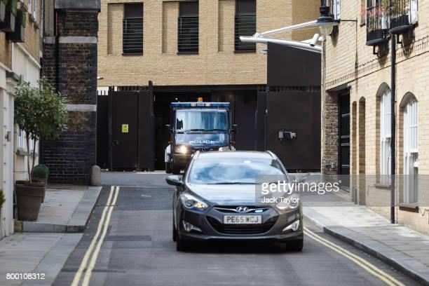 A police van believed to be carrying terror suspect Darren Osborne leaves Westminster Magistrates Court on June 23 2017 in London England Mr Osborne...
