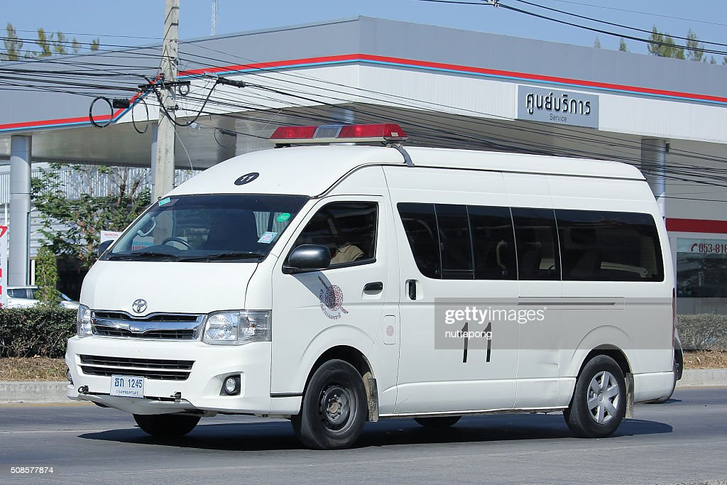 Police van car of Sansai Police Station. : Stock Photo
