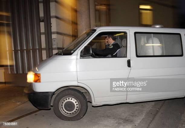 A police van carrying Cecile Brossard who confessed on 2005 the sexrelated killing of banker Edouard Stern arrives at the entrance of the Geneva's...